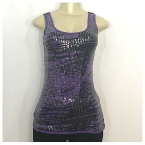 Purple Tank With Black Sequin Detail DKNY